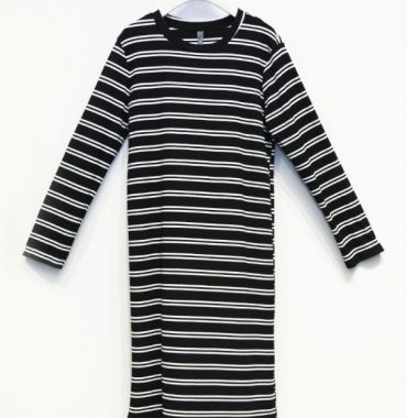 Arabella Striped Dress - Black