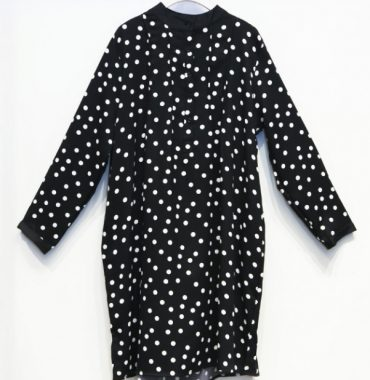 Lulu Shirt Dress in Polkadot - Black